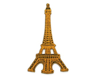 Yellow Eiffel Tower France Embroidered Applique Iron on Patch 5.8 cm. x 10 cm.