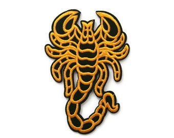 Yellow Scorpion Embroidered Applique Iron on Patch 6.5 cm. x 9.3 cm.