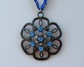 Crocheted Necklace with Blue Floral Pendant