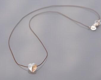 Minimalist Choker necklace in 925 Silver Clasp - Swarovski Crystal heart pendant - braided silk thread