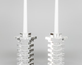 Acrylic/Lucite Clear Straight Stacked Modern Candlestick (sold as pair)