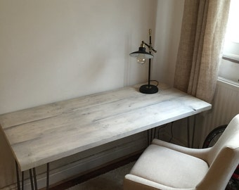 Custom reclaimed wood desk with hairpin legs