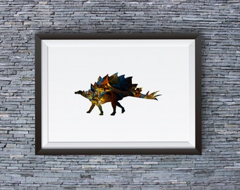 Dinosaur Art Print - Cool Poster - Abstract Art Illustration - Wall Art - Home Decor