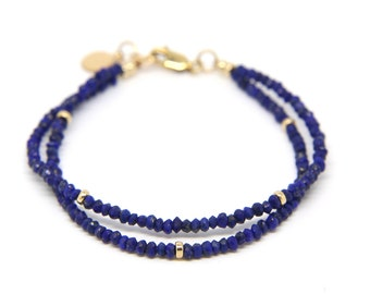 Lapis lazuli bracelet, double strand gemstone bracelet.