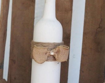 decorative distressed white wine bottle