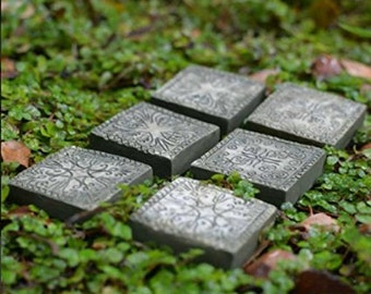 Miniature Dollhouse FAIRY GARDEN ~ Set of 6 Fairy Garden - Ancient Square Stepping Stones  ~ NEW