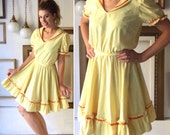 Vintage Yellow Cotton Belted Square Dance Dress - Free Ship