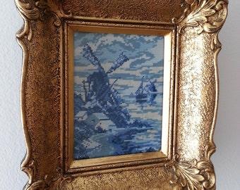 Hollandische Windmuhle - Original Wiehler Gobelin Handmade