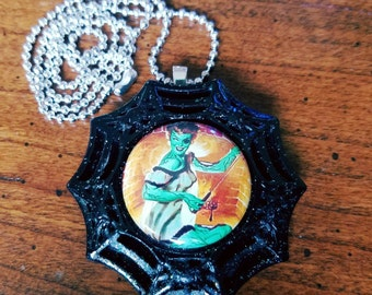 Zombie pinup girl halloween necklace