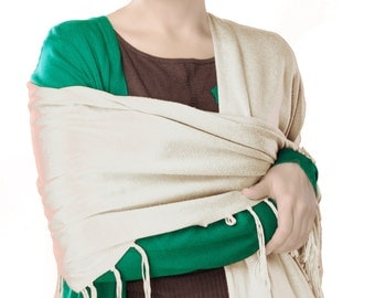 Women's Soft Scarf Solid Color Pashmina Silky Shawl Stole Wraps - Ivory Color