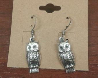 Silver Plated Owl Dangle Earrings