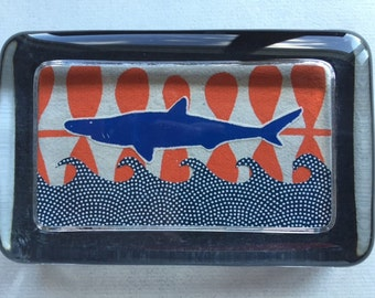 Shark & Waves Collage Paperweight