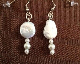White stone and pearl earrings
