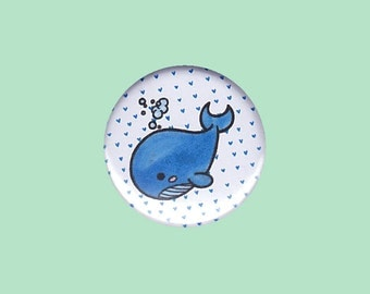 Whale Badge - baby whale, kid's button, children's badge, whale pin, whale button, kawaii pin, kawaii button, cute button