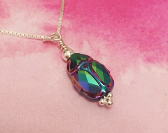 Swarovski crystal scarab beetle pendant sterling silver necklace