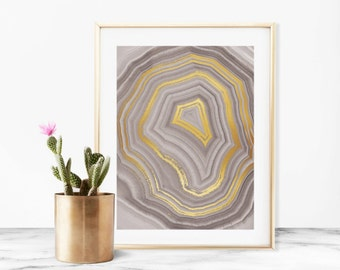 Gray Geode Faux Gold Art Print - Instant Digital Download