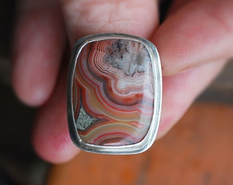 Crazy Lace Agate & Sterling Silver Ring