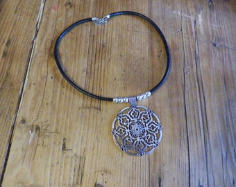 Adjustable leather, lace Medallion necklace