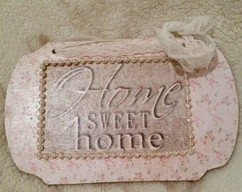 Home Sweet Home Floral Plaque