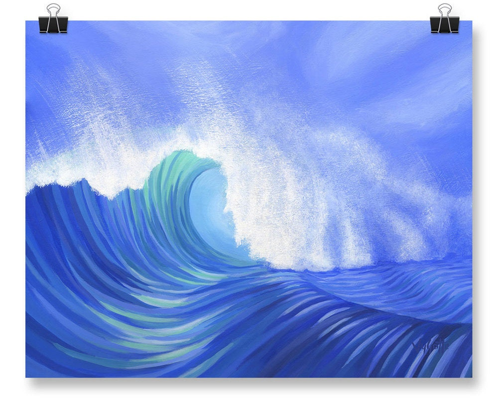 Ocean wave wall art blue poster print of painting bedroom for 12x16 bedroom