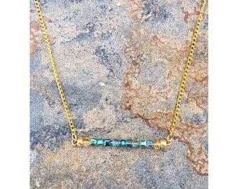 Bar Necklace | Blue Bar Necklace | Gemstone Bar Necklace | Beaded Bar Necklace