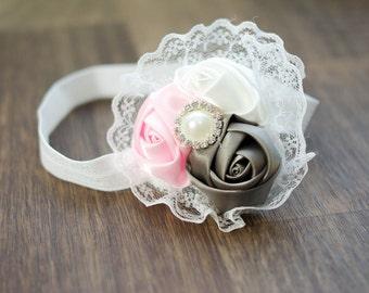 Baby Headband, Satin Headband, Photography Prop, Photo Prop, Newborn Prop, Baby Prop, Baby Girl Prop // Pink Gray White Lace Flower Headband