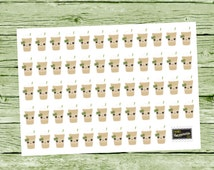 58 Kawaii Frozen Coffee Stickers - Iced Coffee Stickers- Planner Stickers - Functional Stickers