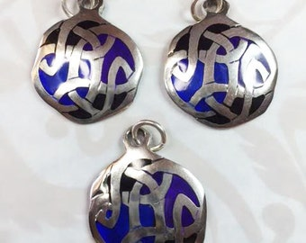 SILVER AND BLUE Celtic Knot Pendants
