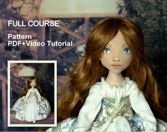 Princess doll E pattern. Cloth doll video+pdf sewing+painting tutorial, Artist pdf pattern. Step-by-step guide. Instant download.