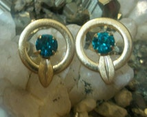 Vintage Van Dell 12k Gold Filled Teal Rhinestone Stud Earrings