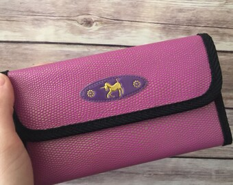 Pink textured velcro unicorn wallet