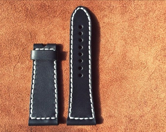 Leather belt for watch. Leather watchband.