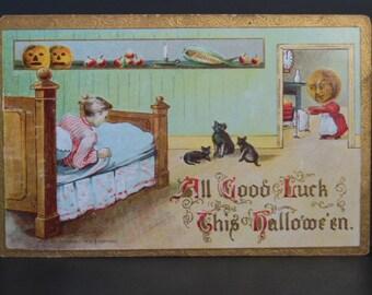 Vintage German Halloween Postcard, All Good Luck this Hallowe'en, Gottschalk, Dreyfuss & Davis, Dated 1906, Unused Antique Postcard
