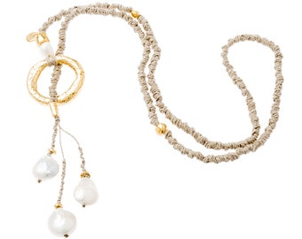 NECKLACE, LINEN, PEARL