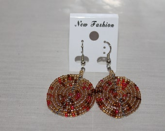 Iridescent brown multicolored disc shaped beaded earrings