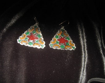 Vintage stained glass earrings; lovely multi-colored glass design