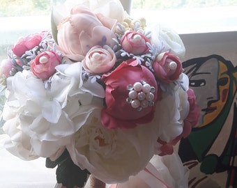 silk flowers bouquet & boutonniere set,romentic bouquet,pink flowesr, white flowers,