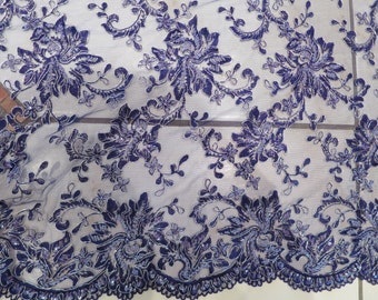Beaded lace purple  dentelle perlée violette