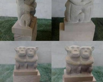 Monkeys in love hand carved in Natural Stone. Monkeys sculpture. Garden or interior decoration