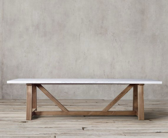 solid oak dining table with carrara marble by thebigtablecompany. Black Bedroom Furniture Sets. Home Design Ideas