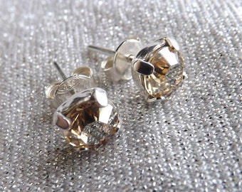 "Swarovski 6 mm earrings ""Crystal golden shadow"" and Silver 925"