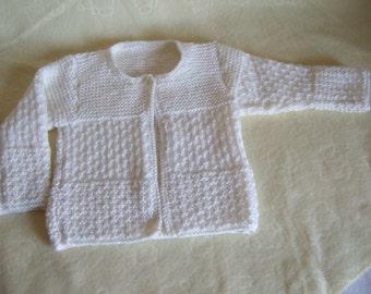 Merino mix hand knitted cream baby sweater, Baby matinee coat, Cream baby cardigan. To fit approx. 0-3 months. Newborn Cream Baby Cardigan