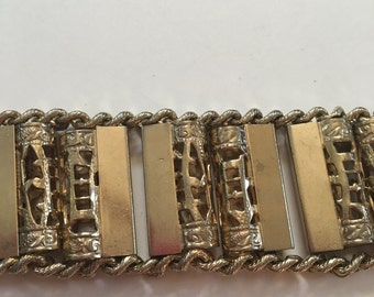 1950s vintage Kafin New York statement gold pillar bracelet