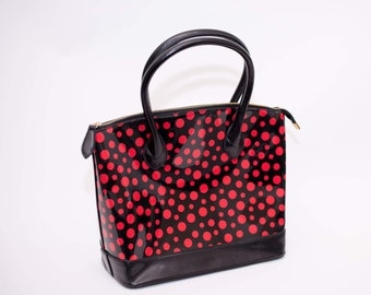 Red & black polkadot handbag