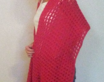 Simply Red shawl/ scarf with fringe