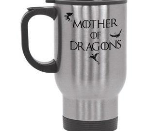 Mother Of Dragons Steel Travel Mug Daenerys Targaryen - Game of Thrones Gift GoT Khaleesi Mug