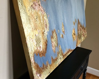 HUGE Original Gold Foil/ Gold Leaf Abstract Textured Large Painting 48 x 24 inches - Mixed Media