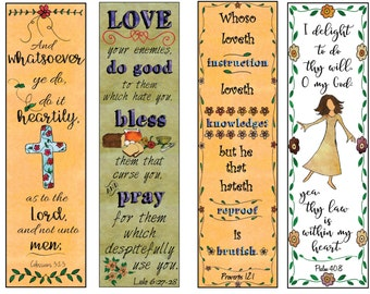 Bible Verse Bookmarks on the Christian Life DIY Full Color Print and Cut