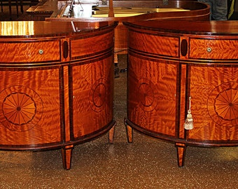 One of 2 Italian Satinwood Rosewood Demilune Commode Sideboard Buffet 2 Available