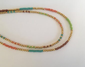 Green orange seed, Glass Beads Necklace, 24 k plated beads Necklace, Colorful Necklace, Blue beads Necklace, Glass seed beads, Multi color,